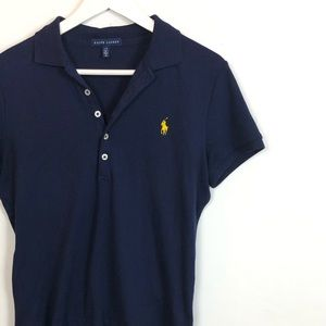 Ralph Lauren 6 Button Navy Blue Polo Size Large
